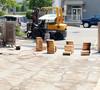 外壁のバーナー焼き作業(パノラマ写真)
