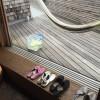 バルコニーのウッドデッキの掃除