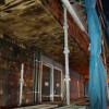 11/20 着工127日目(玄関、バルコニーの屋根下の板が出来上がる。樋が設置)